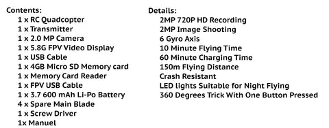 Drone Specs and Details