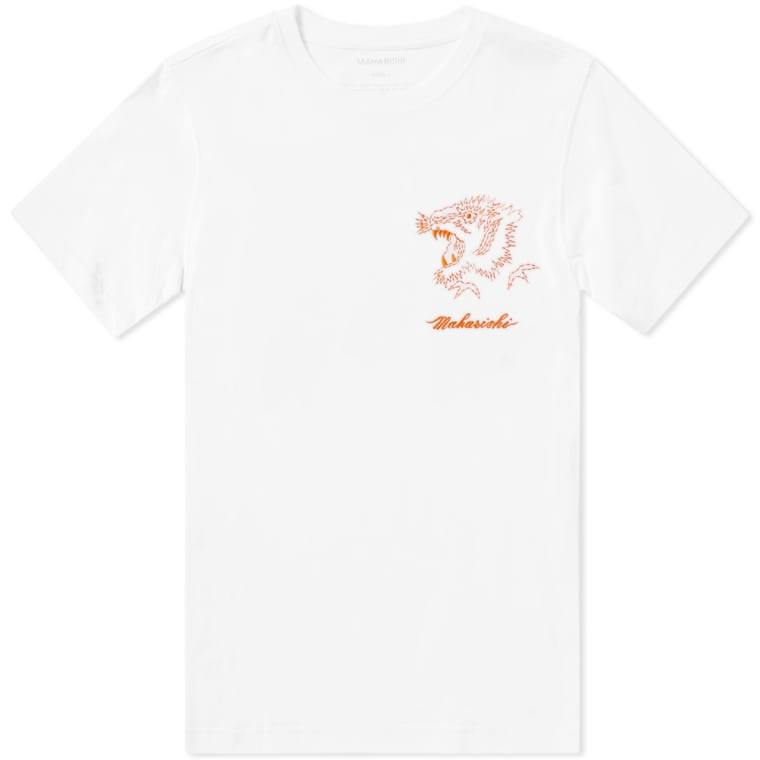 Chest Embroidered Tiger Tee (White) | MAHARISHI - & BLANC