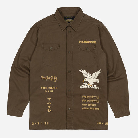 Embroidered Tour Overshirt (Mid Olive) | MAHARISHI - & BLANC