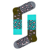 Block Leopard Blue/Gray | Happy Socks - & BLANC