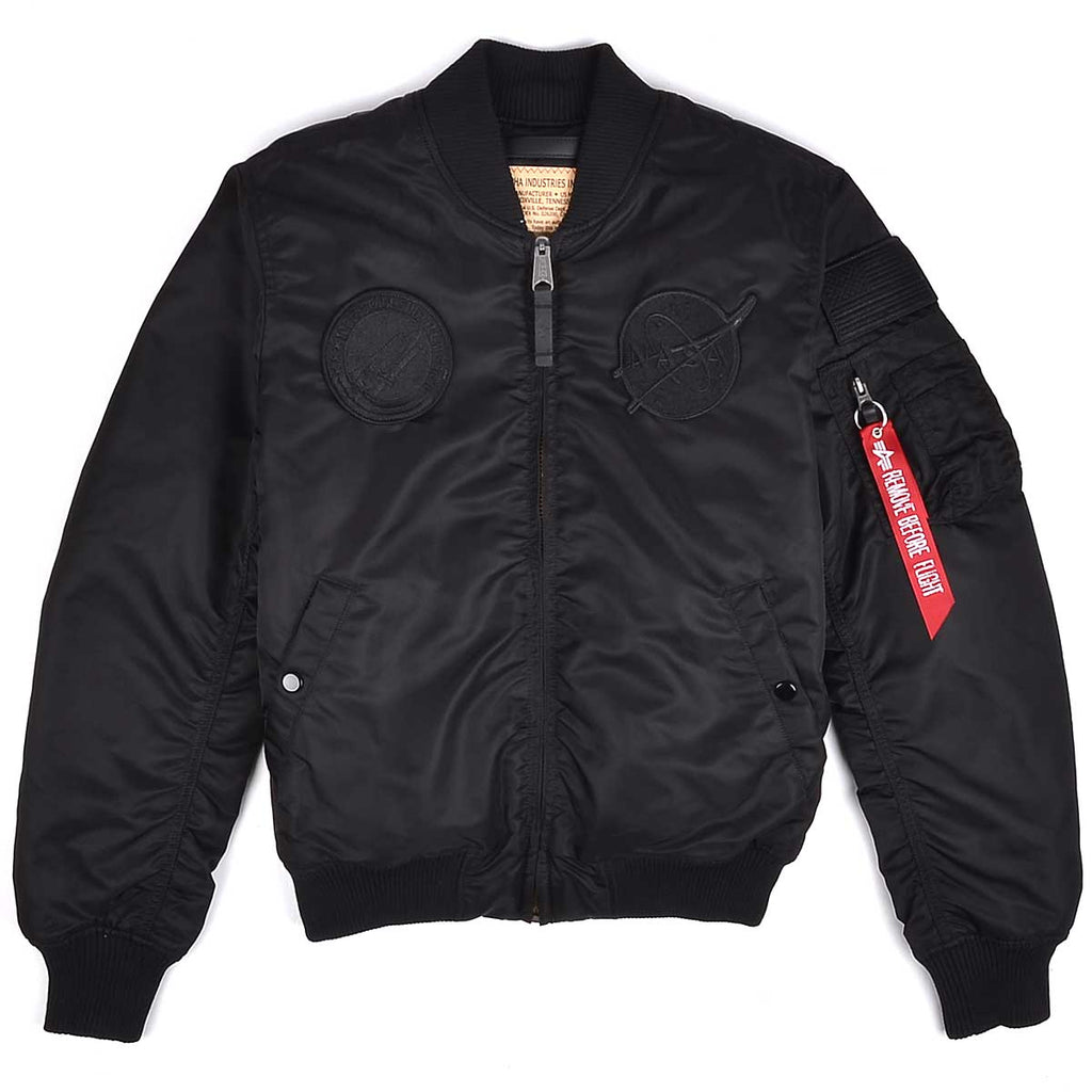NASA MA-1 VF All Black Flight Jacket | Alpha Industries - & BLANC