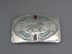 Silver Stallion Chip Inlay Buckle