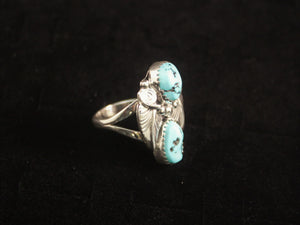 Two Leaf Sleeping Beauty Turquoise Ring