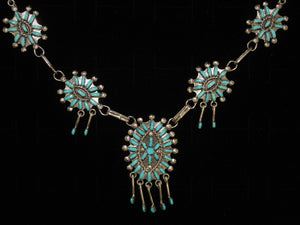 Turquoise Needlepoint Necklace Set