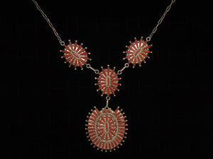 Coral Needlepoint Cluster Necklace