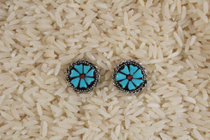 Zuni, Post, Inlay, Floral, Turquoise, Coral, Women, Earring
