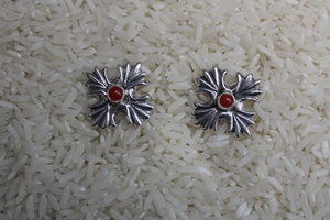 Navajo, Sandcast, Silver, Coral, Post, Women, Earring