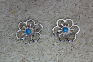 Navajo, Sandcast, Silver, Kingman, Turquoise, Post, Floral, Women, Earring