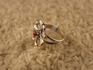 Navajo made silver sandcasted coral ring