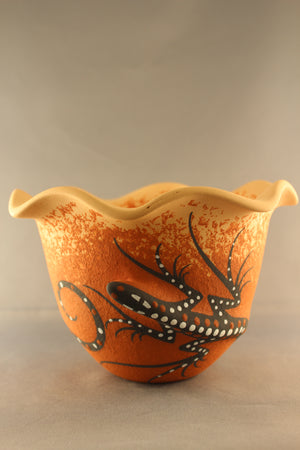 Small Two Lizard Fluted Bowl