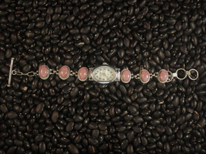 Contemporary Rhodochrosite Watch Bracelet