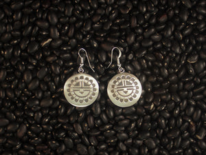 Sunface Overlay Disk Earrings