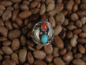 Turquoise, Coral, and Leaves: Classic Men's Ring