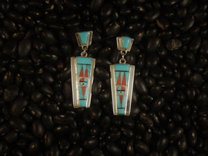 Turquoise & Coral Dangle