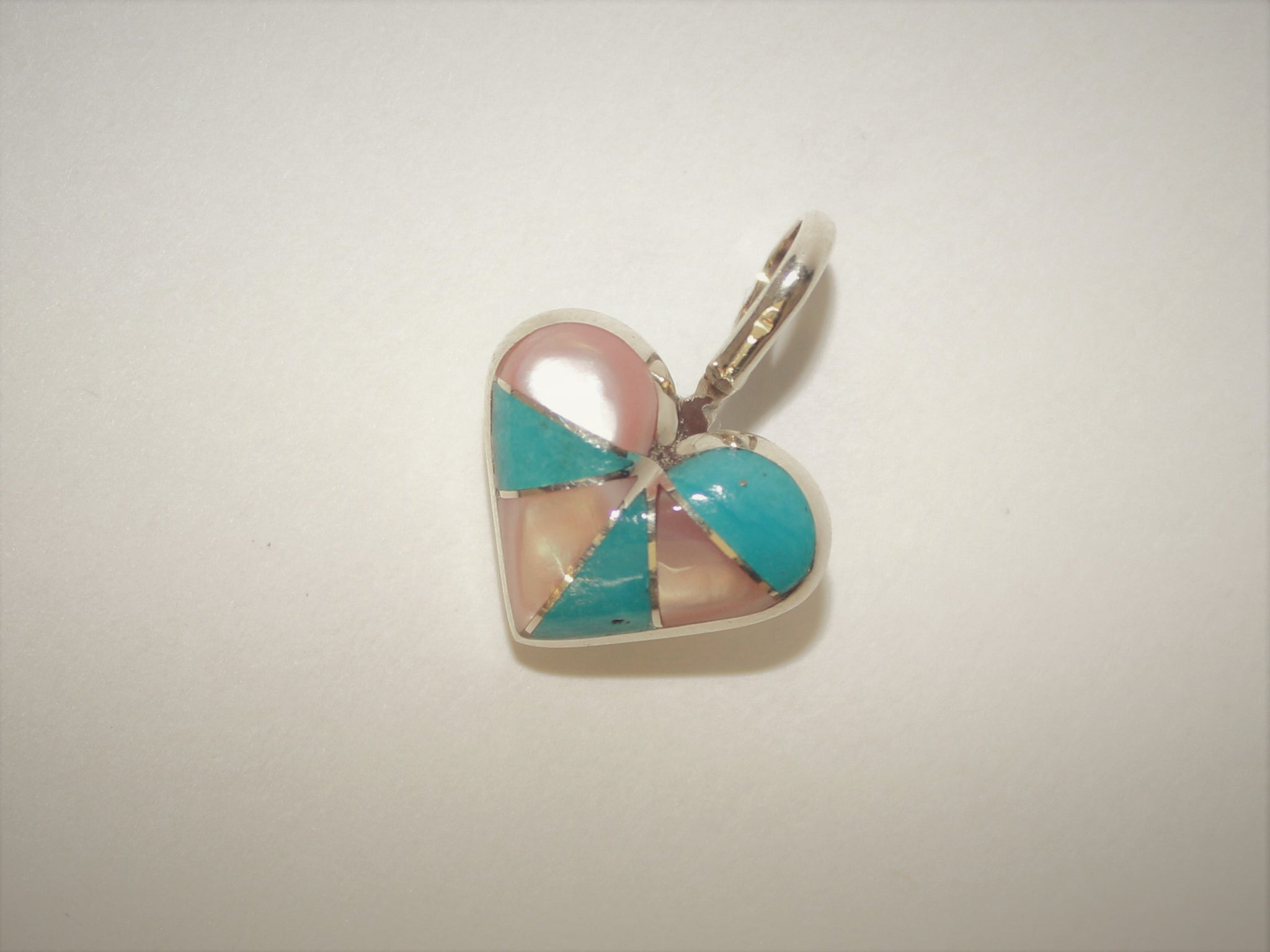 Turquoise and Pink Mussel Shell Heart Pendant