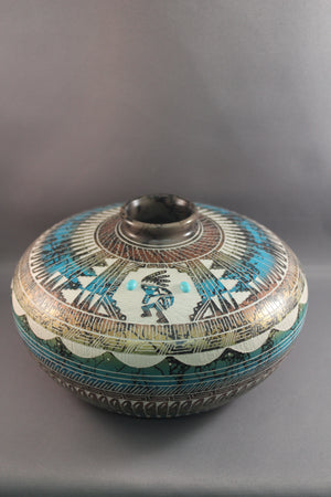 Metallic Blue Horsehair Pottery