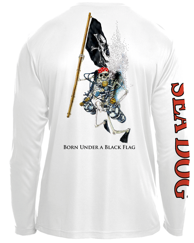 Skeleton Holding Pirate Flag - UPF 30 Long Sleeve Shirt