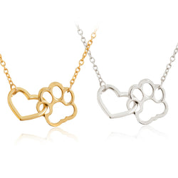 Connected Paw Print and Heart Necklace