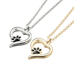 Heart and Paw Print Pendant Necklace