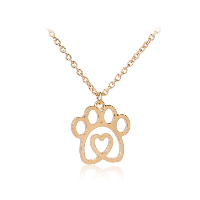 Paw Prints in Heart Necklace