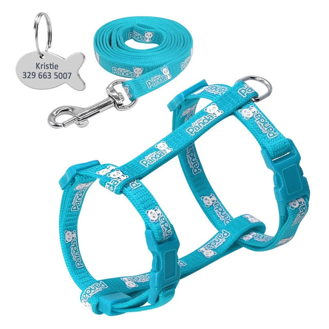 Glow in the Bark Cat Harness and Leash Set With FREE Engraved Customized Id Tag
