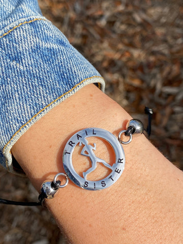 Inspirational Runner Girl Mantra Bracelet - Trail Sister - Moonstone MantraWear