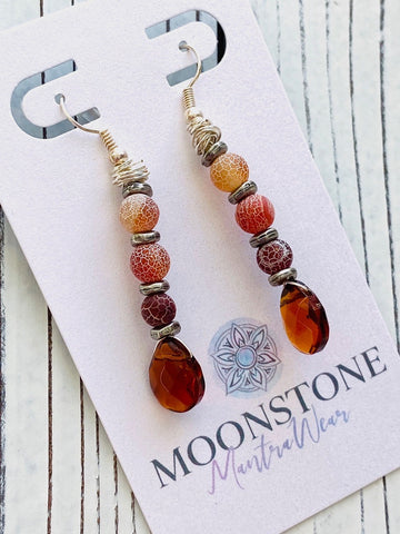 Topaz and Crackled Agate Dangle Earrings - Moonstone MantraWear