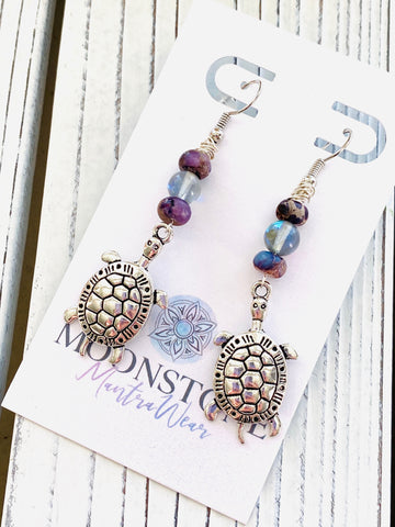 Imperial Purple Jasper and Opalite Turtle Dangle Earrings - Moonstone MantraWear