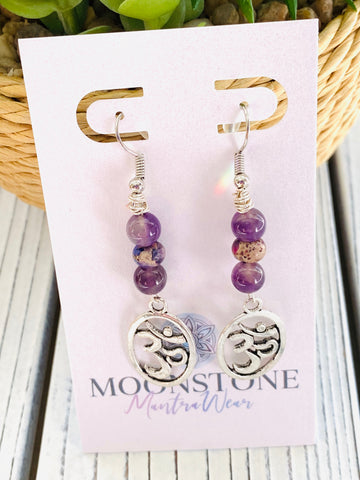 Imperial Purple Jasper and Amethyst Om Dangle Earrings - Moonstone MantraWear