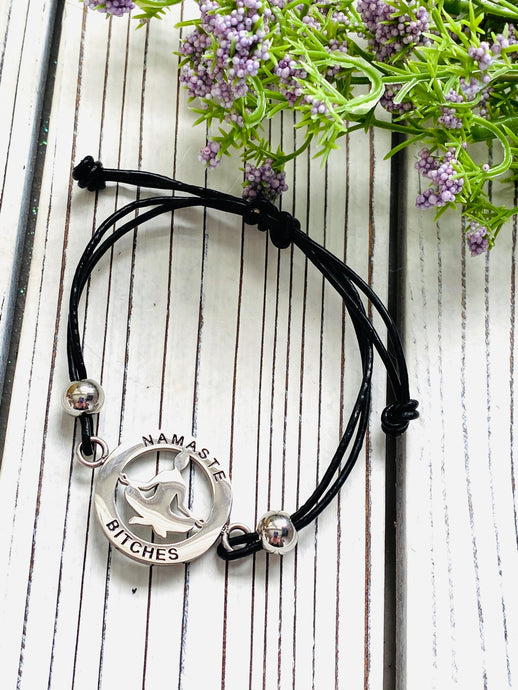 Yoga Mantra Bracelet - A Perfect Gift for Yoga Lovers - Namaste B*tches - Moonstone MantraWear