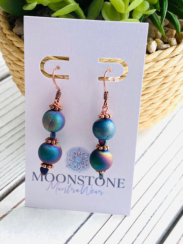 Blue Iridescent Druzy  and Copper Dangle Earrings - Moonstone MantraWear