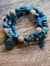 Load image into Gallery viewer, Blue Agate and Sunstone Wrap Bracelet, Memory Wire Bracelet, Blue Gemstone Cuff Bracelet, Yoga Style Jewelry, Blue Beaded Bracelet, Boho Bracelet, Om and Hamsa Memory Wire Bracelet