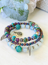 Load image into Gallery viewer, Opalite, Purple & Turquoise Jasper Wrap Bracelet, Memory Wire Bracelet, Gemstone Cuff Bracelet, Yoga Style Jewelry, Purple Beaded Bracelet, Boho Bracelet, Tree of Life Memory Wire Bracelet