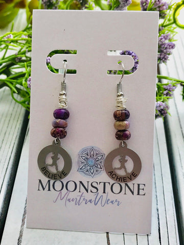 Imperial Purple Jasper Believe & Achieve Runner Girl Dangle Earrings - Moonstone MantraWear