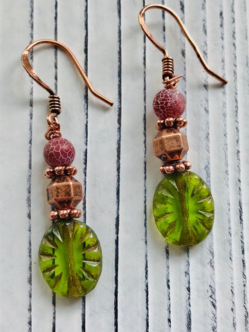 Green Glass, Copper and Cracked Agate Earrings - Moonstone MantraWear