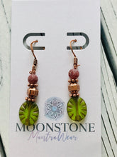 Load image into Gallery viewer, Green Glass, Copper and Cracked Agate Earrings - Moonstone MantraWear