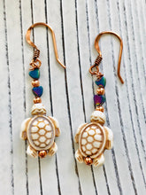 Load image into Gallery viewer, Ivory Dyed Howlite and Copper Turtle Dangle Earrings - Moonstone MantraWear