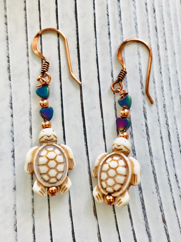 Ivory Dyed Howlite and Copper Turtle Dangle Earrings - Moonstone MantraWear