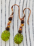 Green Glass, Copper and Iridescent Seed Bead Earrings - Moonstone MantraWear
