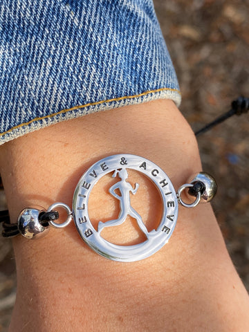 Inspirational Runner Girl Mantra Bracelet - Believe & Achieve