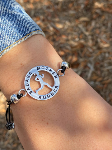 Inspirational Runner Girl Mantra Bracelet - Bad Ass Mother Runner - Moonstone MantraWear