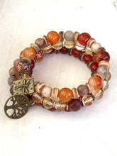 Load image into Gallery viewer, Citrine and Carnelian Stone Wrap Bracelet, Memory Wire Bracelet, Orange and Yellow Gemstone Cuff Bracelet, Yoga Style Jewelry, Beaded Bracelet, Boho Bracelet, Dragonfly and Tree of Life Memory Wire Bracelet