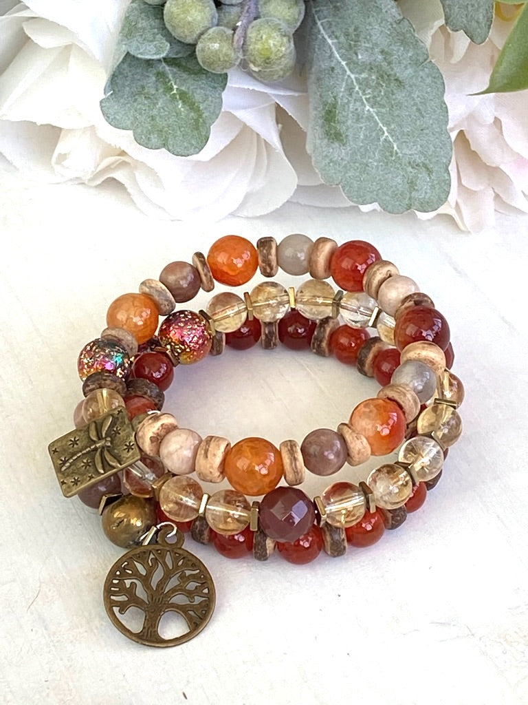 Citrine and Carnelian Stone Wrap Bracelet, Memory Wire Bracelet, Orange and Yellow Gemstone Cuff Bracelet, Yoga Style Jewelry, Beaded Bracelet, Boho Bracelet, Dragonfly and Tree of Life Memory Wire Bracelet