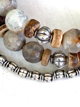 Load image into Gallery viewer, Earthy Faceted Agate and Sterling Silver Beaded Wrap Bracelet, Memory Wire Bracelet, Gemstone Cuff Bracelet, Yoga Style Jewelry, Beaded Bracelet, Boho Bracelet, I CAN Memory Wire Bracelet