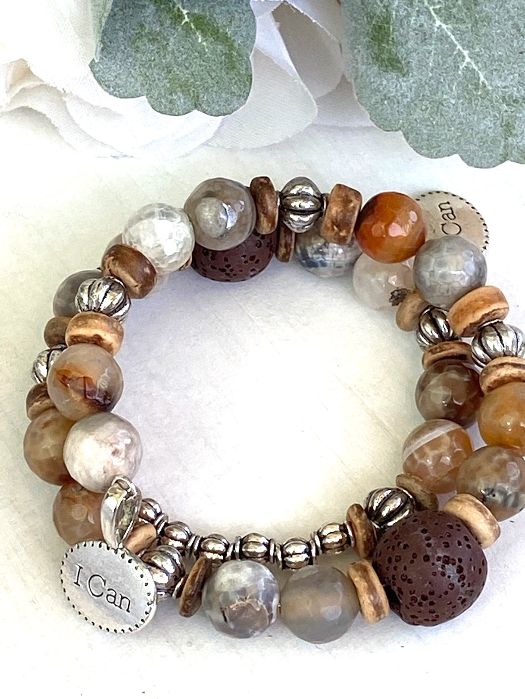 Earthy Faceted Agate and Sterling Silver Beaded Wrap Bracelet, Memory Wire Bracelet, Gemstone Cuff Bracelet, Yoga Style Jewelry, Beaded Bracelet, Boho Bracelet, I CAN Memory Wire Bracelet