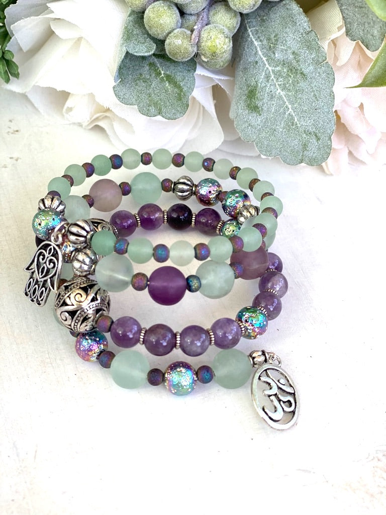 Amethyst and Fluorite Stone Wrap Bracelet, Memory Wire Bracelet, Purple and Green Gemstone Cuff Bracelet, Yoga Style Jewelry, Beaded Bracelet, Boho Bracelet, Om and Hamsa Memory Wire Bracelet
