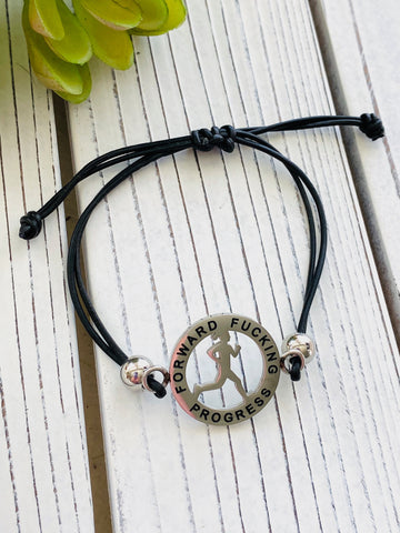 Forward F**king Progress Runner Girl Mantra Bracelet