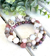 Load image into Gallery viewer, Pink Zebra and Rose Quartz and Sterling Silver Beaded Wrap Bracelet, Memory Wire Bracelet, Gemstone Cuff Bracelet, Yoga Style Jewelry, Beaded Bracelet, Boho Bracelet, Yin and Yang Om Memory Wire Bracelet