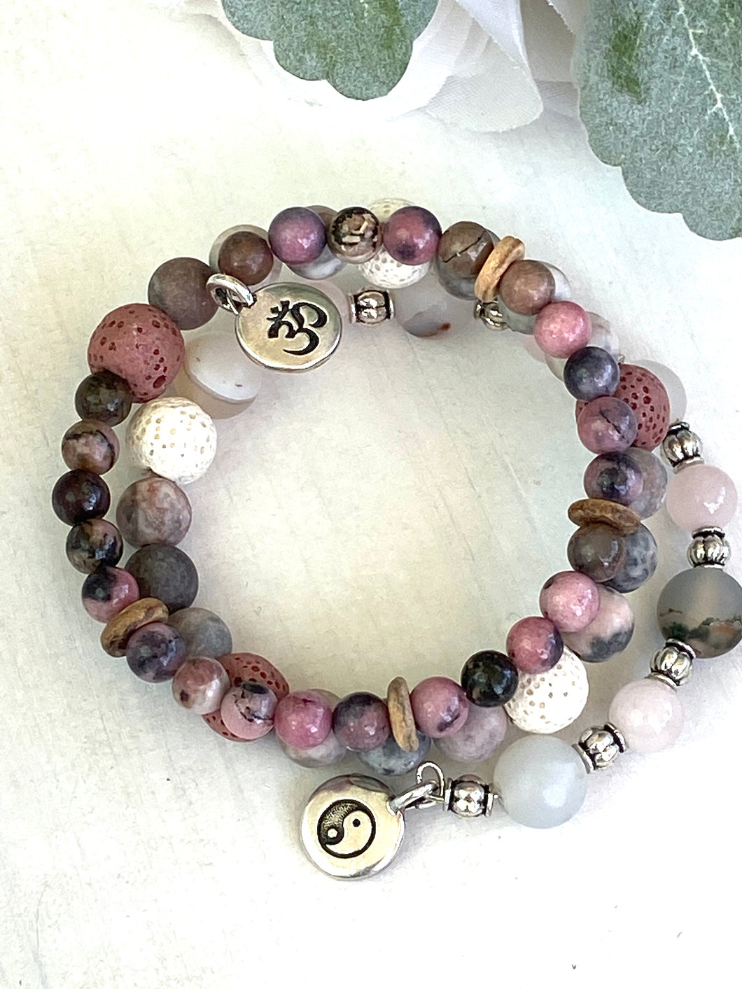 Pink Zebra and Rose Quartz and Sterling Silver Beaded Wrap Bracelet, Memory Wire Bracelet, Gemstone Cuff Bracelet, Yoga Style Jewelry, Beaded Bracelet, Boho Bracelet, Yin and Yang Om Memory Wire Bracelet