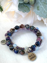 Load image into Gallery viewer, Rainbow Tiger's Eye and Amethyst Druzy Stone Wrap Bracelet, Purple Memory Wire Bracelet, Purple and Green Gemstone Cuff Bracelet, Yoga Style Jewelry, Beaded Bracelet, Boho Bracelet, Yoga Mama Memory Wire Bracelet